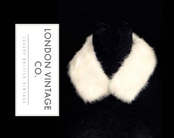 Vintage white/ivory mink real fur collar/scarf/stole/tippet. Great for D.I.Y winter coat collars