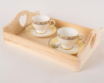 Wooden serving trays. Wooden trays with heart handles. Kitchen serving tray. Breakfast tray. Tea/coffee tray. Small tray. Large tray. Wooden