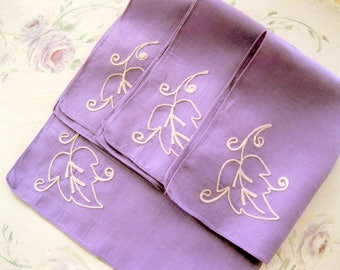 Purple Linen Placemat Set, Four Purple Placemats, Embroidered Leaf, Set of Four, Cottage Decor, Shabby French, by mailordervintage on etsy