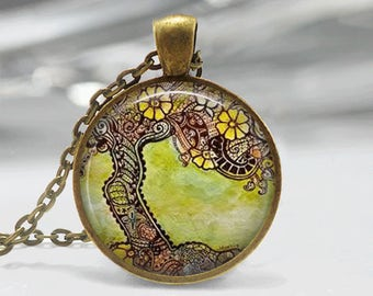 Glass Tile Necklace Tree Necklace Glass Tile Jewelry Tree Jewelry Brass Necklace Glass Tile Pendant Brass Jewelry Flower Jewelry