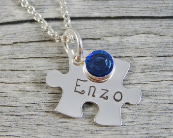 Autism Jewelry - Hand Stamped Jewelry - Personalized Jewelry - Mom Necklace - Sterling Silver - Small Puzzle Piece