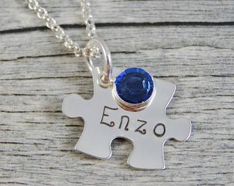 Bijoux de l'autisme - estampillé bijoux - bijoux personnalisés - collier maman - en argent Sterling - Puzzle petite pièce à main