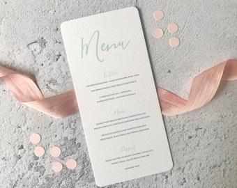 Printable Wedding Menu - Mint Calligraphy Wedding Menu Card - Modern Wedding Reception Table Decor