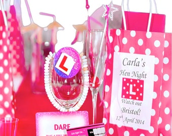 Create your own hen party bags, personalise and add any 12 items per bag purchased