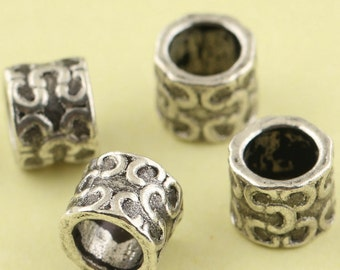 5Pcs 7mm 925 Sterling Silver C C Symbol Tube Mala Beads / Findings / Spacer, Antique Silver Beads
