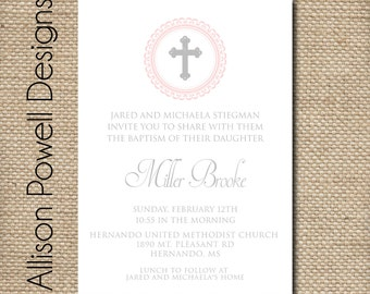 Girl Baptism, Christening, Church Dedication Printable Customized Invitation