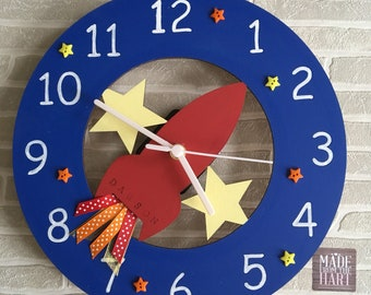 Wooden Hand Painted Rocket Space Clock