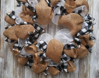 Black and white flannel wreath