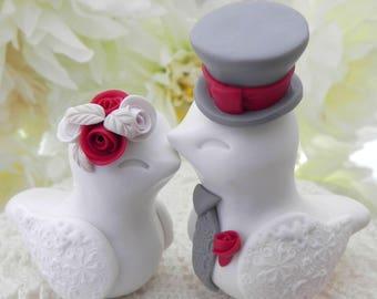 Love Birds Wedding Cake Topper, White and Red, Bride and Groom Keepsake, Fully Custom