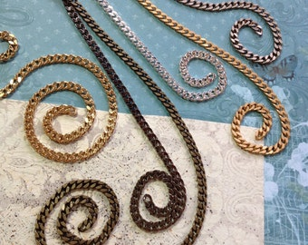 Flat curb chain 4.5 x 5 mm curb chain delicate yet sturdy- chain-high quality by the foot-by the roll-jewelry makers chain-KR879