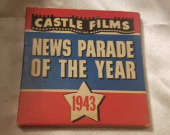 Vintage Castle Films News Parade of the Year 1943 Complete Edition 8 MM Millimeter Film in Original Box World War II Homefront News Reel 8MM