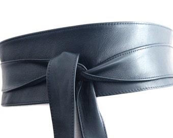 Navy Blue Leather Obi Belt | Waist Corset Belt | Leather tie belt | Real Leather Belt| Handmade Belt