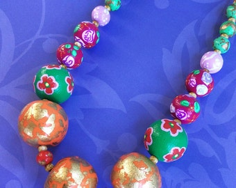 Colorful Statement Necklace / Big Chunky Beaded Necklace / Multicolor Statement Jewelry / Orange Green and Pink Necklace