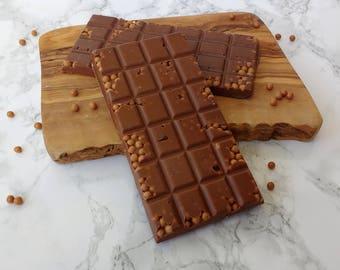 Handmade Belgian Chocolate bar -Milk Chocolate and salted caramel crunch pieces  Belgian chocolate