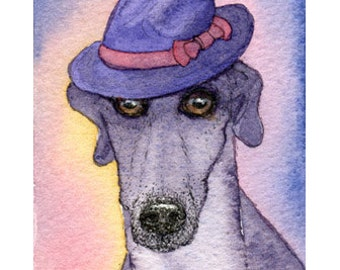 Whippet greyhound dog 8x10 inch print wearing trilby hat fedora lurcher looking suave the bee's knees from Susan Alison watercolor painting