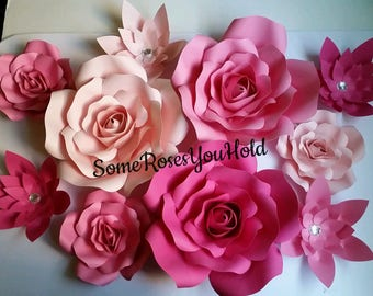 Large Pink Paper Flower Backdrop,10pc Paper Flowers Set,Paper Flowers Wall Decor,Baby Shower Decor,Paper Roses,Party,Wedding,Nursery Wall