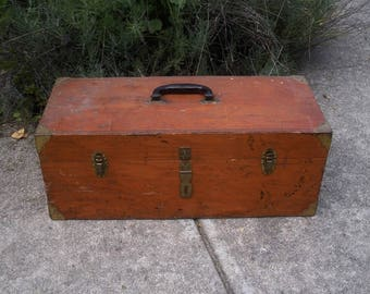 Vintage Wooden Toolbox with Brass Corners - Electrical Workers International