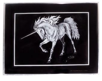 Vintage Unicorn Art Framed Unicorn Print H W Hoag Black and White 16 X 20