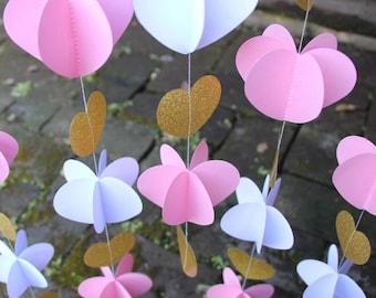 Decoración de ceremonia de la boda de rosa y oro / paper de telón de fondo de fiesta DIY guirnalda de corazones