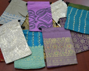 12 Pieces assort DRAWSTRING JEWELRY Gift POUCHES 4 x 6 Bags