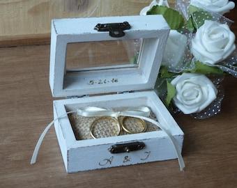 Wedding Ring Bearer Pillow Box Beach Ring Bearer Box Rustic Wedding Decor Burlap Wedding Ring Box Wedding Ring Pillow White Personalized Box