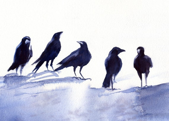 Crows 10 -- signed print - watercolor - Bonnie White - crows and ravens - crow - raven - bird art - raven art
