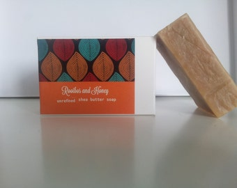 SALE!!!   Unrefined shea butter soap (palm oil free) - ROOIBOS & HONEY