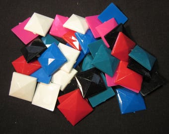 "36 Talisman 1"" square opaque plastic jewels , red,pink,blue,teal,black,white, for decorating clothes or other items"