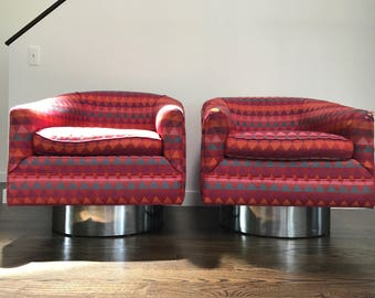 Mid Century Modern Pair of Swivel Barrel Back Chairs Attributed Milo Baughman