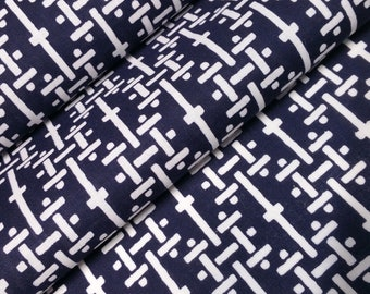 Deep indigo blue and white cotton yukata fabric - by the yard - abstract basket-weave