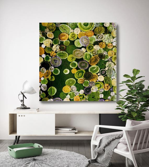 """Cosmic. Geometrical Rustic Green Abstract Art, Extra Large Abstract Colorful Contemporary Canvas Art Print up to 48"""" by Irena Orlov"""