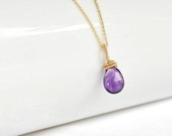 Amethyst pendant, purple pendant, artisan jewelry, wire wrapped pendant, February birthstone, Valentine's day gift