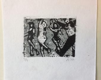 Dancers--two color linocut print