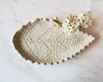 Pottery Leaf Spoon Rest - Ceramic Tea Light Candle Holder - Jewelry Trinket Dish - Soap Dish - Handmade Pottery -