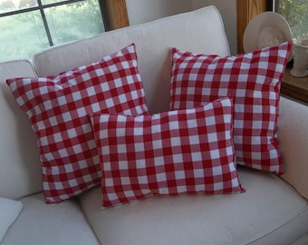 Set Red Gingham Pillows Red & White Porch Pillows 3 Red Checked Pillows Red Picnic Pillows French Country Patriotic Pillows