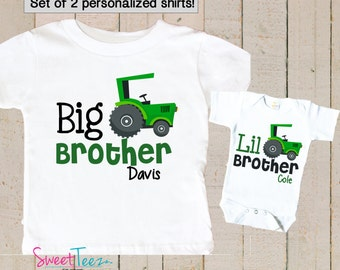 Big Brother Little brother Shirts Sibling Tractor Personalized Big Brother Shirts bodysuit SET Green Tractor Boys