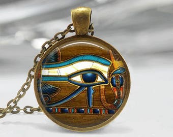 Glass Tile Necklace Eye of Horus Necklace Egyptian Necklace Egyptian Eye Glass Tile Jewelry  Egytian Jewelry Brass Jewelry Brass Necklace