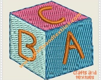 ABC block embroidery design 4X4