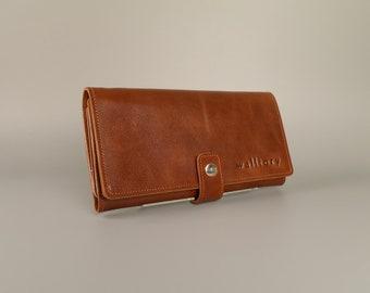 Leather wallet, zipper wallet,  Womens Wallet,  iphone wallet, leather card wallet, Leather Purse,  long leather wallet, brown wallet