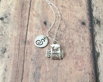 Backpack initial necklace - backpack jewelry, knapsack necklace, book bag necklace, travel jewelry, camping jewelry, silver backpack pendant