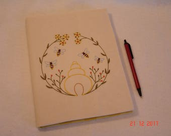 Vintage Spring Bees Embroidered Composition Notebook Cover