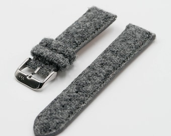 Harris Tweed Ash Grey Watch Strap (18mm-20mm-22mm)