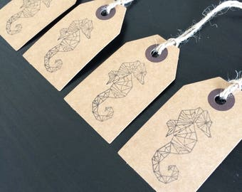Set of 4 Geometric Seahorse Gift Tags