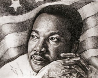 Original Martin Luther King Portrait In Charcoal