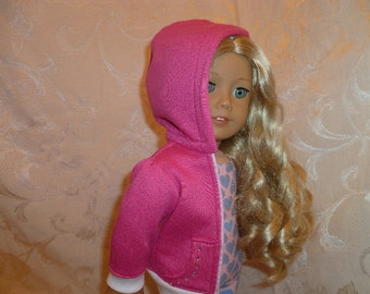 18 Inch Doll Pink Hoodie Hand Made, Pink and White Doll Hoodie/ Ballerina Rhinestone Applique, Doll Warm-up Jacket fits American Girl Dolls