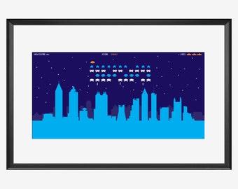 Atlanta Skyline, print, Retro attack, Atlanta poster, Atlanta art, Atlanta print, illustration, Atlanta Georgia art, Aliens print, retro art