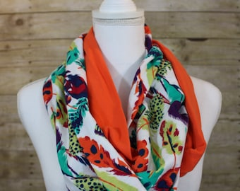 Feather Print and Orange Infinity Scarf, Jewel Tones, Gift for Her, Christmas Gift, Teacher Gift, Gift for Mom, Women's Gift, Infinity Scarf