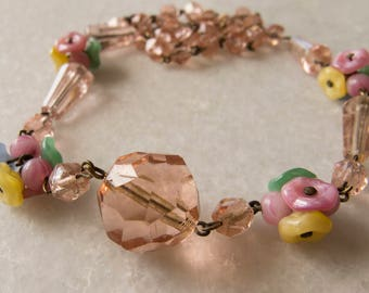 Vintage Antique Classic Czech 1930s Lingerie Pink Faceted and Satin Glass Flower Wired Necklace - 17 inches