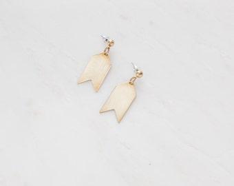 Minimalist Raw Brass Chevron Hypoallergenic Earrings