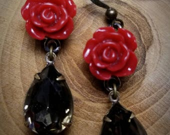 Smokey topaz and burgundy rose earrings